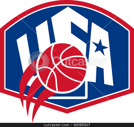 United States USA American Basketball Ball Shield stock vector clipart, Illustration of a United States basketball ball with American star and words USA set inside backboard shield on isolated white background.  by patrimonio