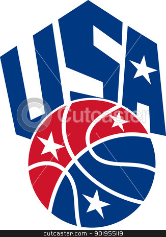 United States USA American Basketball Ball stock vector clipart, Illustration of a United States basketball ball with American star and words USA on isolated white background.  by patrimonio