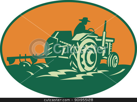 Farmer Worker Driving Farm Tractor stock vector clipart, Retro illustration of a farmer worker driving a vintage farm tractor plowing field set inside ellipse. by patrimonio