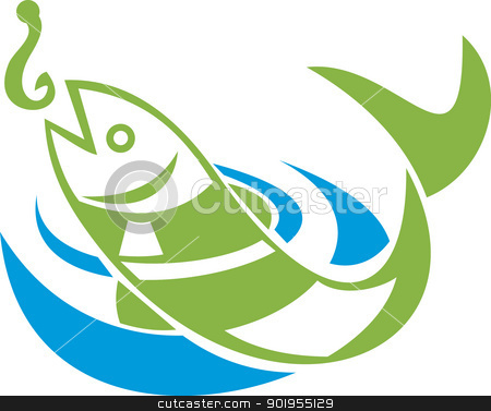 Fish Jumping For Bait Hook stock vector clipart, Retro illustration of a fish jumping for bait hook on isolated white background. by patrimonio