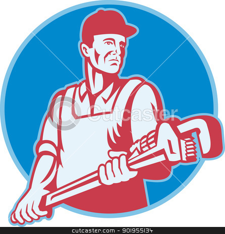 Plumber Worker Monkey Wrench Retro stock vector clipart, Retro illustration of a plumber worker carrying a giant adjustable monkey wrench viewed from front set inside circle on isolated white background. by patrimonio