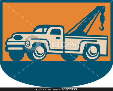 Vintage Tow Wrecker Pick-up Truck  stock vector clipart, Retro illustration of a vintage tow wrecker pickup truck viewed from side. by patrimonio