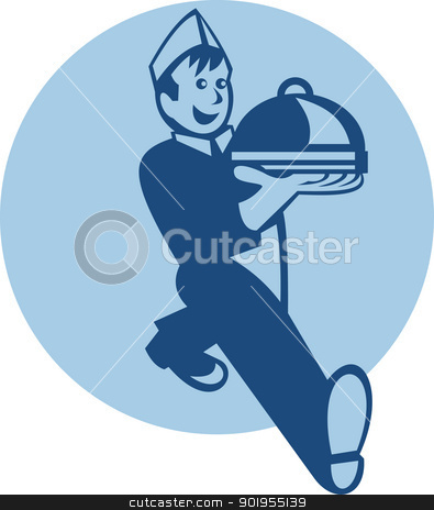 Waiter Cook Chef Baker Serving Food stock vector clipart, Retro illustration of a waiter cook chef baker walking serving platter plate of food set inside circle. by patrimonio