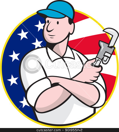 American Plumber Worker With Adjustable Wrench  stock vector clipart, Cartoon illustration of an American plumber worker repairman tradesman with adjustable monkey wrench set inside circle with stars and stripes flag.  by patrimonio