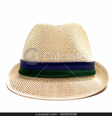 Weave hat isolated stock photo, Weave hat on white background by pixbox77