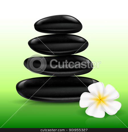 Stones spa stock photo, Stones spa with white Flower. Illustration for design by dvarg