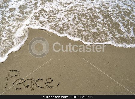Peace Written in the Sand stock photo, Peace Written in the Sand by Liane Harrold
