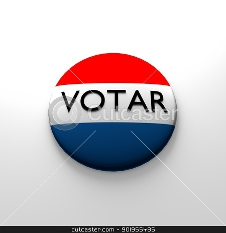 Red white and blue Voter button in spanish stock photo, Red white and blue Voter button in spanish by Dennis Connelly