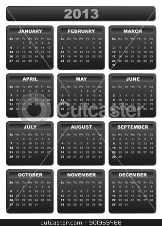2013 Calendar stock vector clipart, 2013 Calendar in Shades of Grey on White Background by JAMDesign