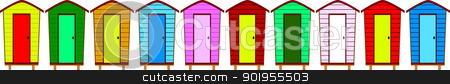 Ten Beach Huts stock vector clipart, Ten beach huts, no gradients, with copy space and separately grouped. by Kotto
