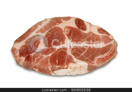 steak stock photo, Raw pork steak meat isolated in white background by Grafvision