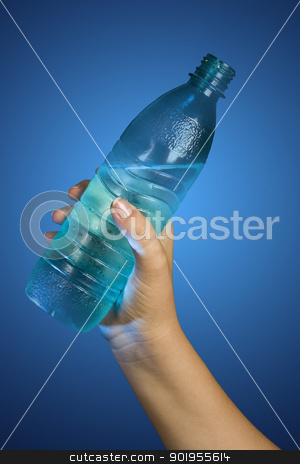 bottle of water stock photo, hand holding a bottle of water in black background by Grafvision