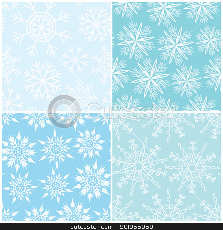 Four winter seamless backgrounds stock vector clipart, Four winter seamless vector backgrounds with diferent snowflakes by Allaya