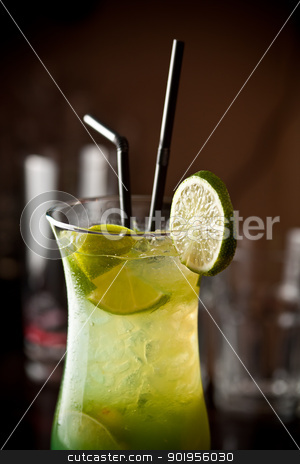 Lemon cocktail  stock photo, Freshness lemon cocktail whit straw by Grafvision