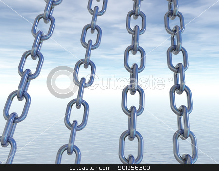 metal chains stock photo, metal chains in front of cloudy sky - 3d illustration by J?