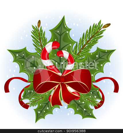 Christmas holly berry branches and bow isolated - vector stock vector clipart, Illustration Christmas holly berry branches and bow isolated on white background - vector by -=Mad Dog=-