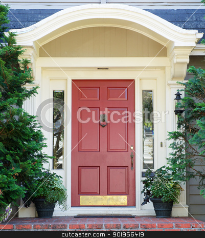 Magenta home door stock photo, Magenta home door with arched top with two windows by bobkeenan