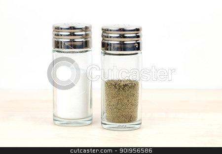 Salt And Pepper Shaker stock photo, Ingredient on a table by Matthias Krapp