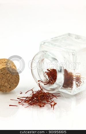 Saffron stock photo, Delicious herb isolated on white by Matthias Krapp