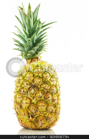 Pineapple stock photo, Complete pineapple isolated on white by Matthias Krapp