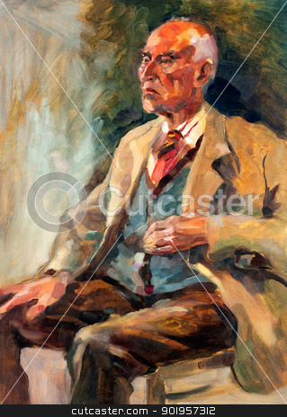 Senior man  portrait stock photo, Original oil painting on canvas.Portrait showing a senior man  sitting.Modern Impressionism by borojoint