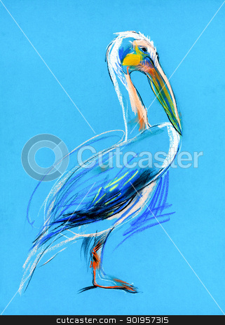 Sketch of a pelican stock photo,  Original pastel and  hand drawn painting or  working  sketch of a  pelican.Free composition by borojoint