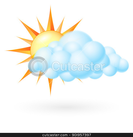 Sun with cloud stock photo, Sun with cloud. Illustration on white background by dvarg