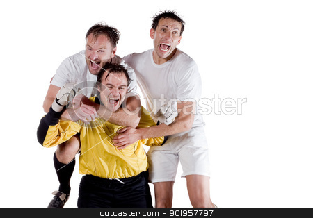 Sport and success stock photo, Happy soccer team. Full isolated studio picture by Picturehunter