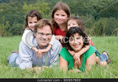 Family stock photo, Happy and young family in a farmers field by Picturehunter