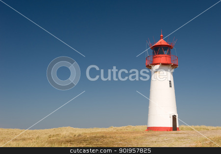 Lighthouse stock photo, Small lighthouse on the island sylt, germany by Picturehunter