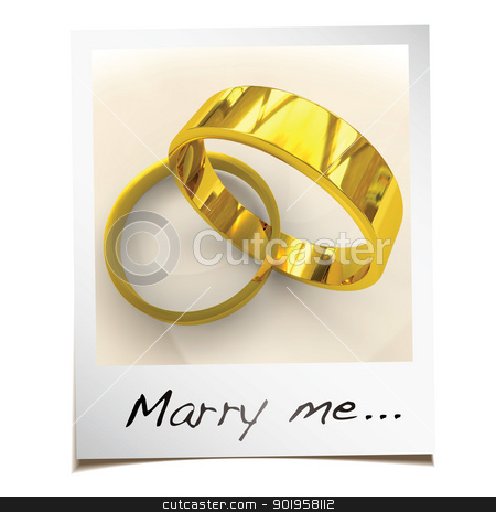 Marry me instant photo stock photo, Romantic wedding proposal with instant photgraph and gold rings by Michael Travers
