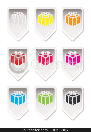 Paper tag gift present stock vector clipart, Gift tags with paper element and coloured presents by Michael Travers