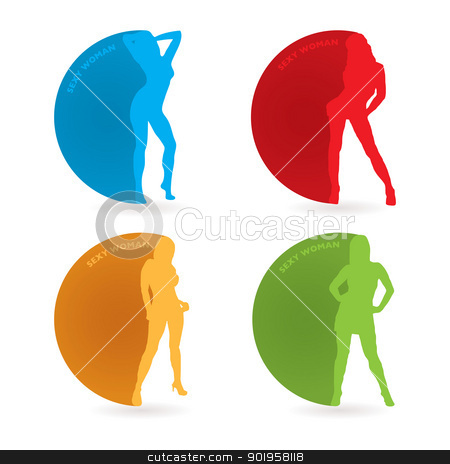 Sexy woman icon stock vector clipart, Collection of sexy woman with round icon and drop shadow by Michael Travers