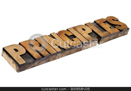 principles word in wood type stock photo, principles - isolated word in vintage letterpress wood type by Marek Uliasz