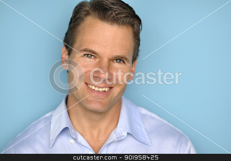 Handsome smiling business man stock photo, Headshot of handsome business man with pleasant smile by Chad Zuber