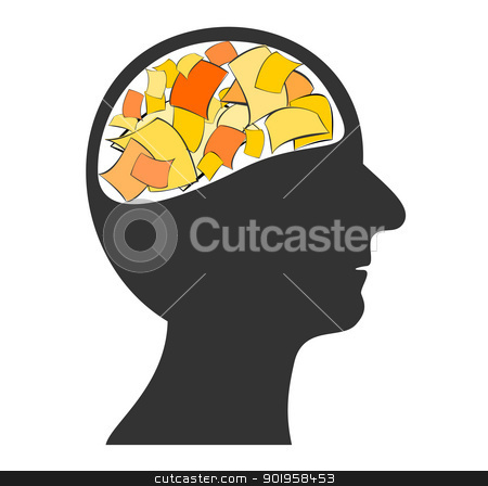 Papers in the head stock vector clipart, Papers in the head by Jupe