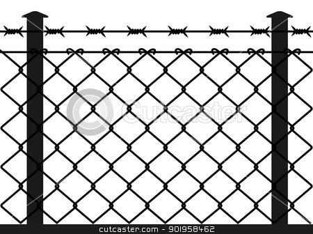Wire fence with barbed wires stock vector