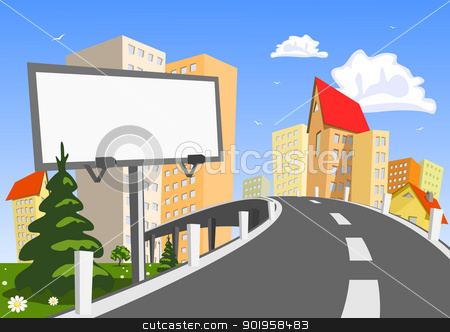 Abstract vector city with billboard stock vector