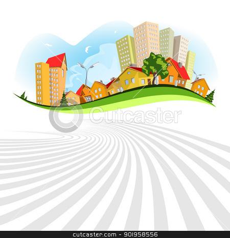 Abstract vector city - summer stock vector clipart, Colorful abstract vector city. Summer by Jupe