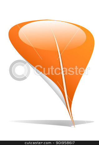 Orange leaf pointer stock vector clipart, Orange leaf as an pointer by Jupe