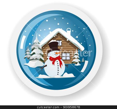 Vector snowman sticker stock vector clipart, Vector snowman sticker by Jupe