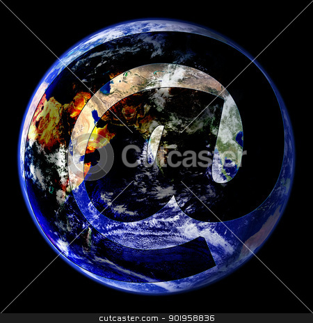 World Wide Email Globe East stock photo, An Email Symbol Covering Globe East Image  by Snap2Art