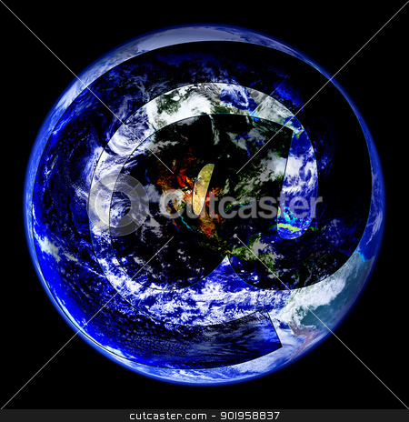 World Wide Email Globe West stock photo, An Email Symbol Covering Globe West Image  by Snap2Art
