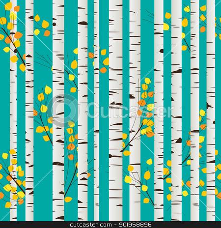 Birch forest pattern stock vector clipart, Autumn birch forest seamless pattern, graphic art by Richard Laschon
