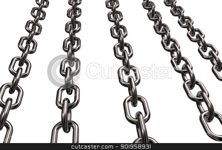 metal chains stock photo, metal chains on white background - 3d illustration by J?