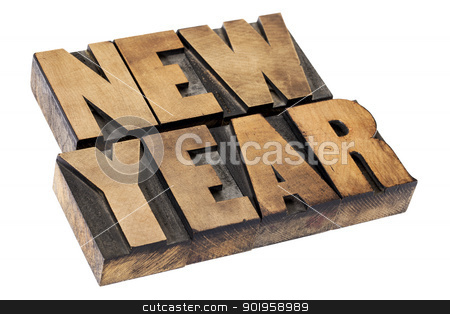 New Year  in wood type stock photo, New Year  - isolated text in vintage letterpress  wood printing blocks by Marek Uliasz