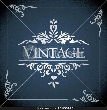 vector vintage frame stock vector clipart, vintage frame design - vector illustration by ojal_2