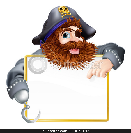 Happy pirate pointing at sign stock vector clipart, A happy pirate pointing at sign with a gold border or frame by Christos Georghiou
