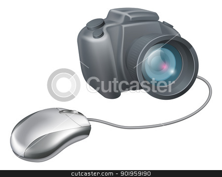 Camera computer mouse concept stock vector clipart, Camera computer mouse concept, a computer mouse attached to a camera. Concept for uploading images or browsing for images on a computer or any other IT and picture theme. by Christos Georghiou