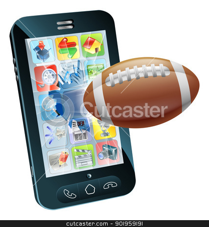 American football ball cell phone stock vector clipart, Illustration of an American football ball flying out of cell phone screen by Christos Georghiou